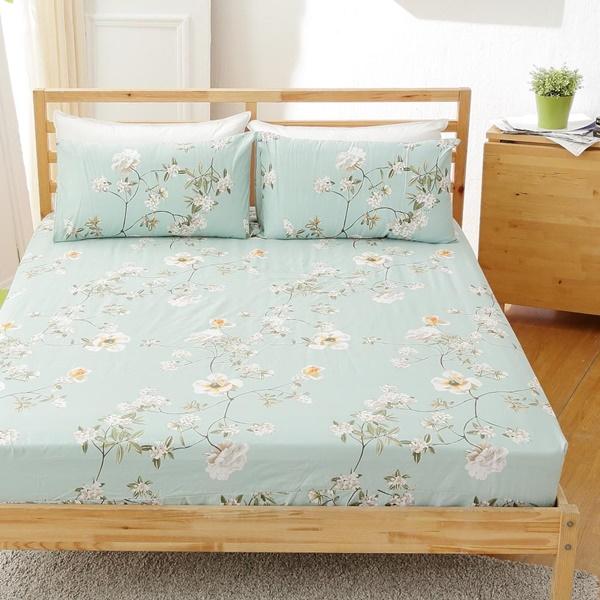 [SN]#B151#寬幅100%天然極緻純棉5x6.2尺雙人床包+枕套三件組*台灣製/SGS檢驗/床單/床巾