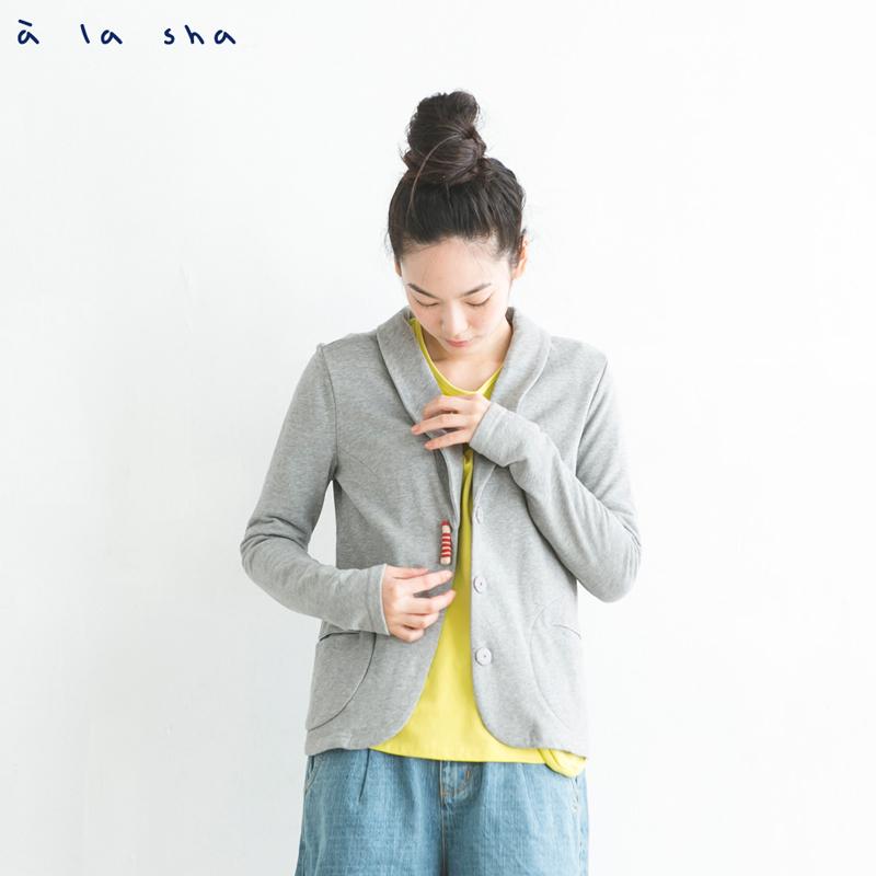 a la sha mucha 鉛筆圓口袋休閒西裝外套