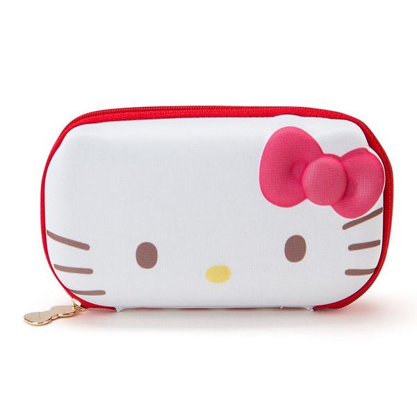 【真愛日本】16020100032 硬殼拉鍊眼鏡置物盒-KT格子紅   KITTY 凱蒂貓 三麗鷗 眼鏡盒 配件 收納