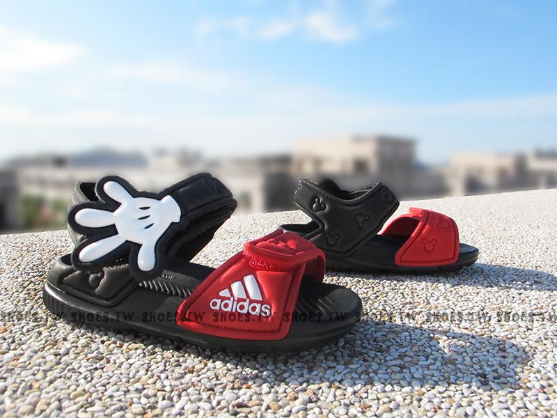 Shoestw【AF3919】ADIDAS 童鞋 涼鞋 小童 AKWAH 9 K 迪士尼 米奇 黑紅