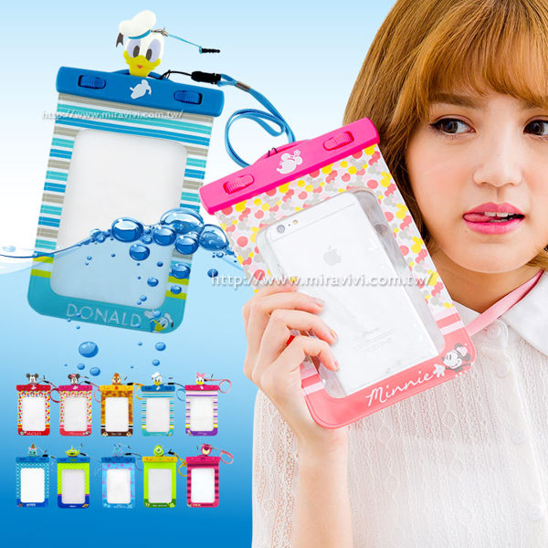 【Disney 】6吋通用可愛繽紛手機防水袋(附夾子捲線器耳機塞)