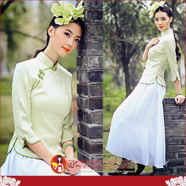 【水水女人國】~復古中國風美穿在身~素色(綠)。古典清雅素色質優提花棉料七分袖旗袍式唐裝上衣