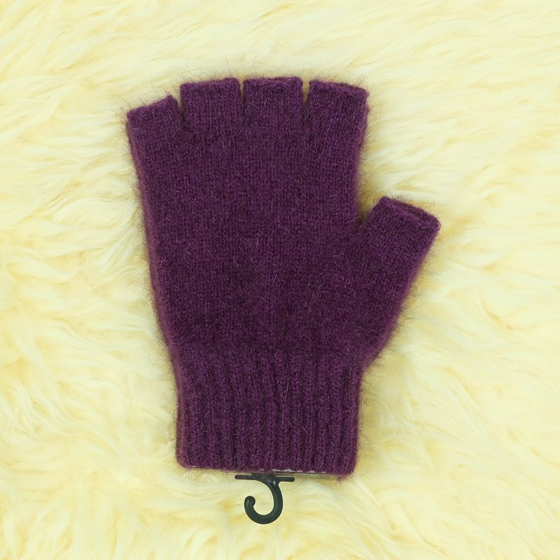 紐西蘭貂毛羊毛手套*超輕暖*露指手套*紫莓色