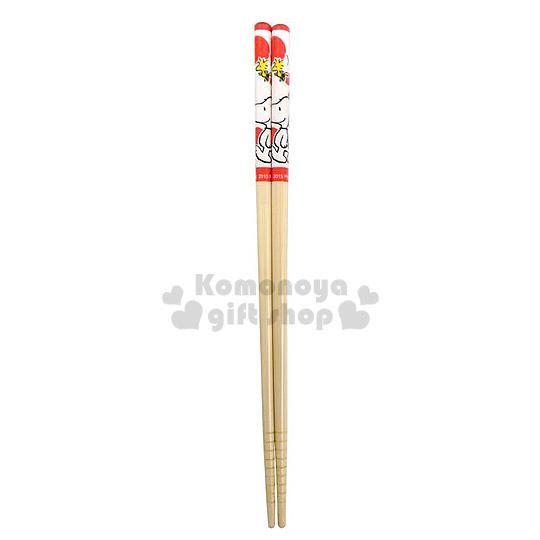 〔小禮堂〕史努比 料理竹筷組《1組2入.紅點點.糊塗塔客.21cm》前端止滑設計