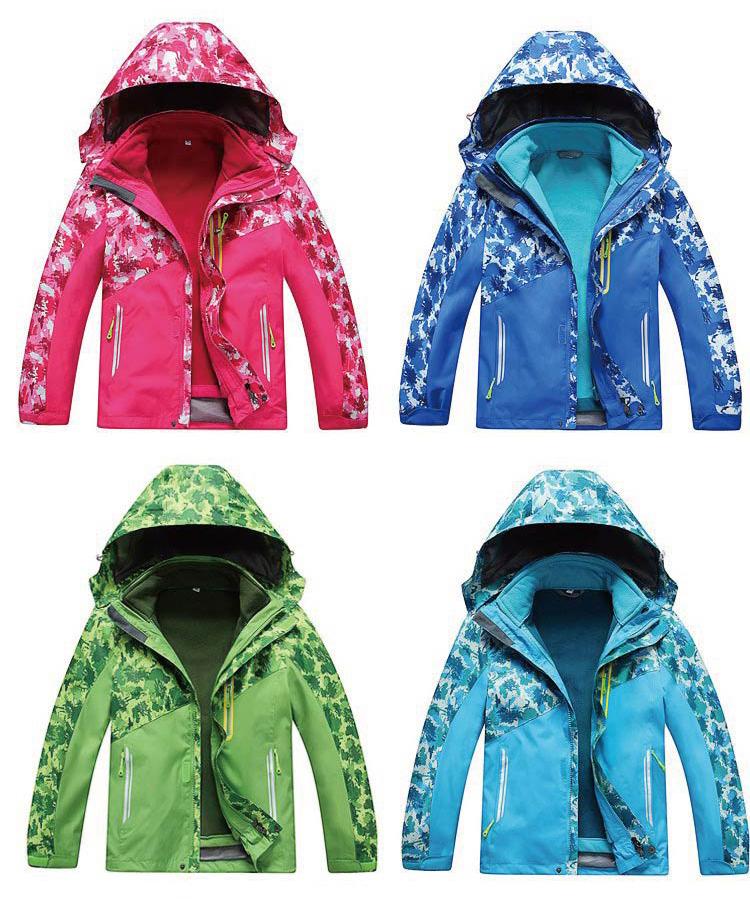 兒童防風迷彩造型防雨三穿外套 兩件式防風雨三穿保暖外套~超值的多功能二件式外套,防風、保暖、防潑水 兒童款兩件式外套