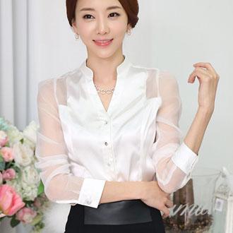 中大尺碼  立領純色半透明長袖襯衫 [E6304] - 蓁豔小舖【單筆滿 700現折100】