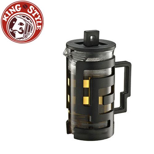金時代書香咖啡 Tiamo 幾何圖文法式濾壓壺 300cc 黑色