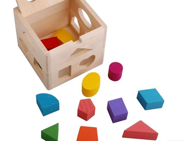 木製十三孔形狀配對啟蒙積木智力盒