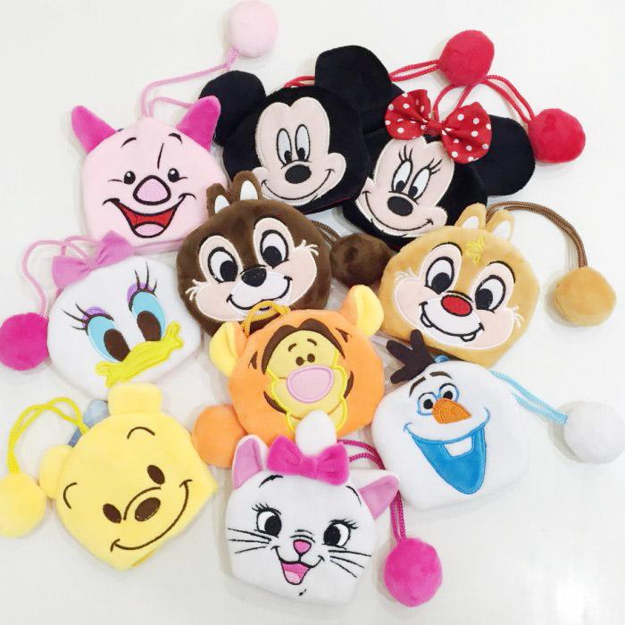 迪士尼 絨布鑰匙包 鑰匙圈 吊飾 拉繩鑰匙包 米奇 米妮 黛西 維尼 小豬 雪寶 瑪麗貓 配件 正版日本授權