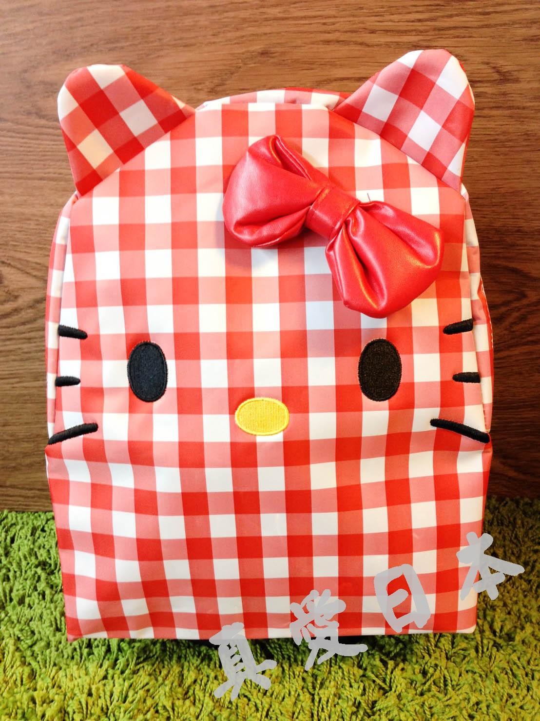 【真愛日本】16042900004尼龍防水後背包-大臉紅格  三麗鷗Hello Kitty凱蒂貓 後背包 書包