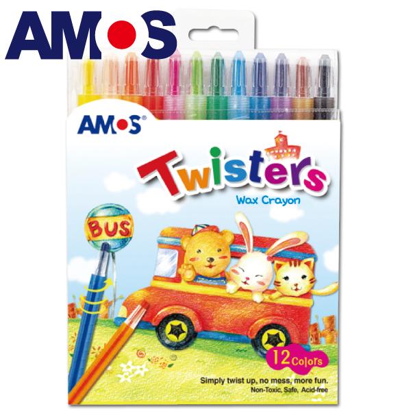 韓國AMOS 12色旋轉臘筆(台灣總代理公司貨)