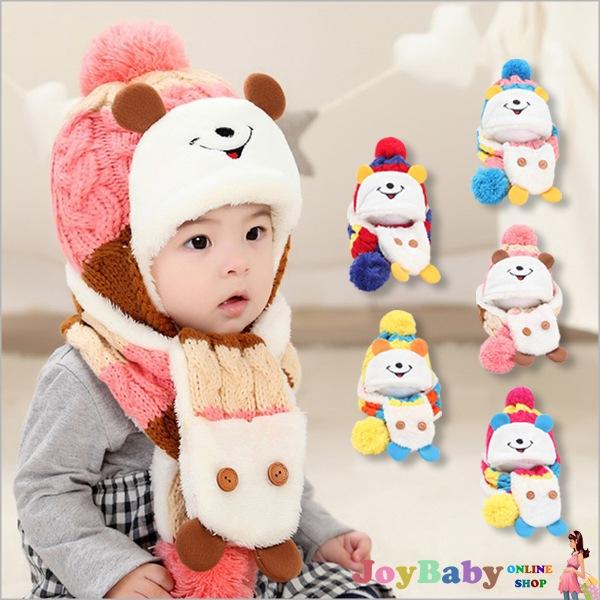 兒童米奇毛線護耳帽子+脖圍 針織可愛造型保暖飛行帽【JoyBaby】