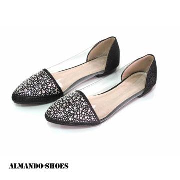 ALMANDO-SHOES★韓系星星一族金底亮鑽透明尖頭平底鞋★璀璨黑