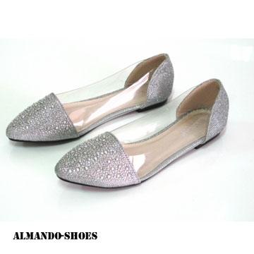 ALMANDO-SHOES★韓系星星一族金底亮鑽透明尖頭平底鞋★炫亮銀