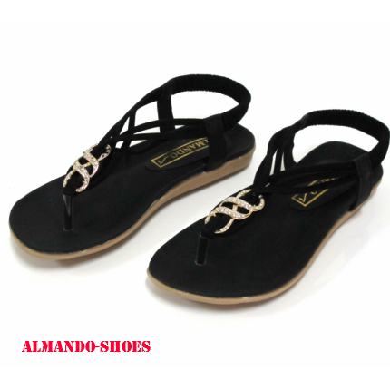 ALMANDO-SHOES★夏季新款★3弦細帶鑲鑽涼鞋????-黑