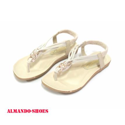 ALMANDO-SHOES★夏季新款★3弦細帶鑲鑽涼鞋-米 女性流行涼鞋拖鞋特賣