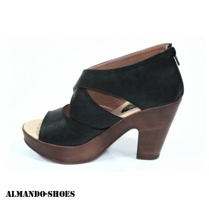 ALMANDO-SHOES★整件式皮革剪裁交叉厚底魚口高跟涼鞋★黑 女性涼鞋特賣特價299