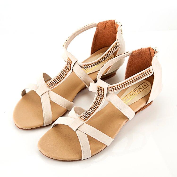 ALMANDO-SHOES★簡約貼鑽平底涼鞋★ 簡約氣質風(beige 米) MIT