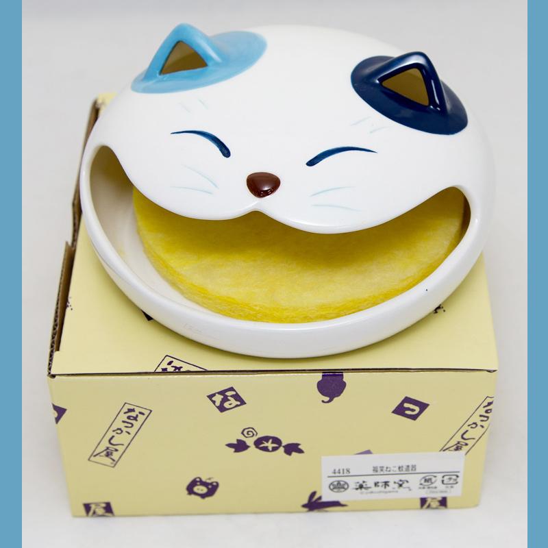 福笑貓 陶瓷蚊香器 可放蚊香薰香安全衛生美觀 日本藥師窯出品 日本帶回