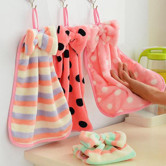 蝴蝶結珊瑚絨掛式擦手巾 強力吸水不掉毛 (不挑款不挑色出貨)【庫奇小舖】