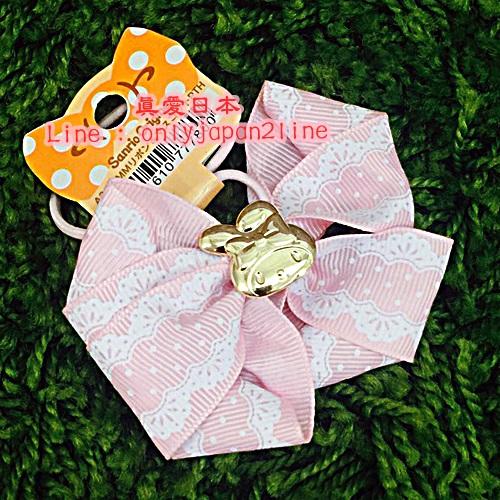 【真愛日本】16092300018造型髮束-MM金飾緞帶蕾絲粉    三麗鷗家族 Melody 美樂蒂  髮飾 飾品  正品