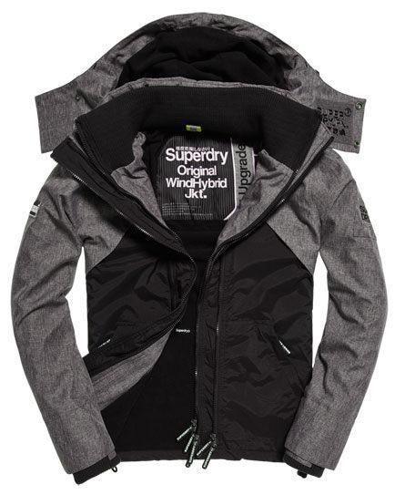 【蟹老闆】SUPERDRY 炭黑色防風外套 雙色拼接 防潑水機能性風衣外套 Wind Hybrid連帽夾克 男款