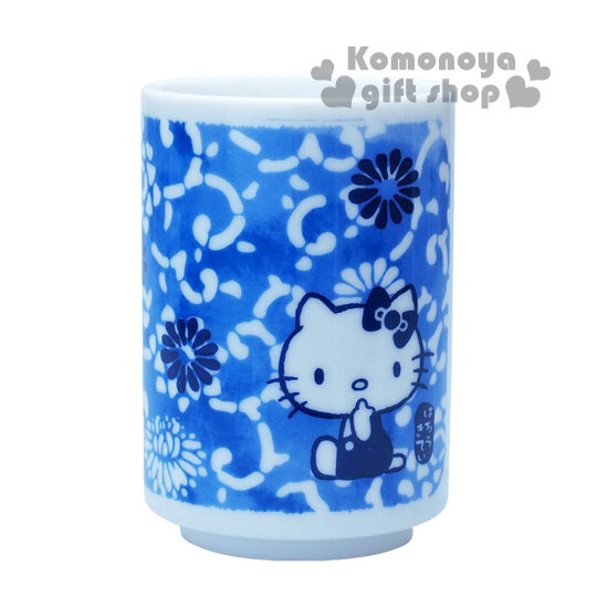 〔小禮堂〕Hello Kitty 日製陶瓷茶杯《藍.花唐草.180ml》精緻金正瓷器
