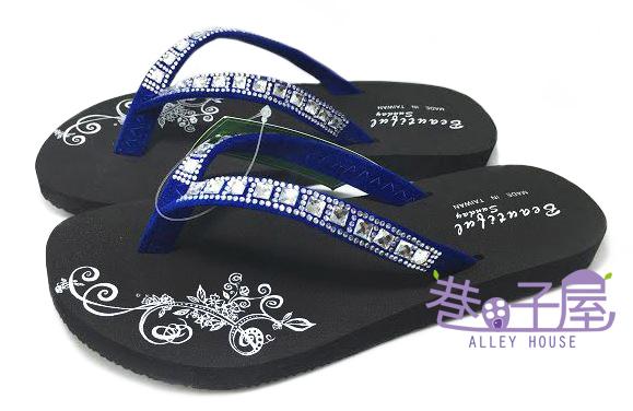 【巷子屋】亮鑽圖騰造型夾腳拖鞋 人字拖 [96052] 藍 MIT台灣製造 超值價$100
