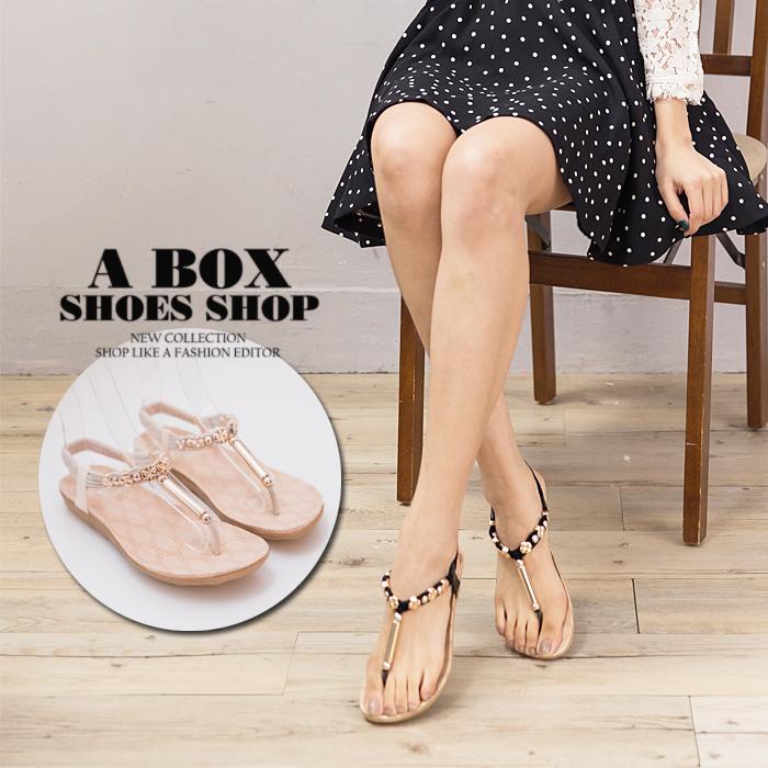 格子舖*【AW3201】春夏時尚韓版 金屬玫瑰金 舒適柔軟 方便鬆緊繞踝夾腳涼鞋 3色