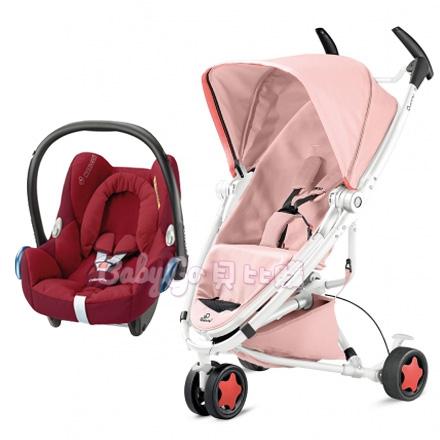*babygo*Quinny Zapp Xtra2 Pure嬰兒手推車【淺粉】+Maxi-Cosi新生兒提籃(顏色隨機)