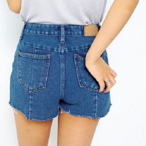 PS Mall PS Mall 韩版个性不规则剪裁毛边裤管牛仔短裤