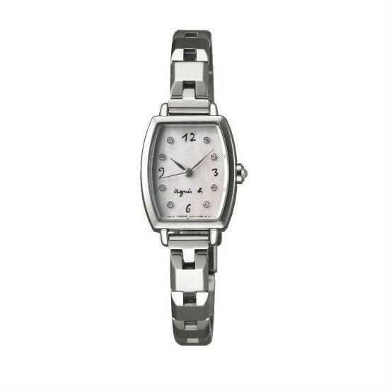 agnes b 1N01-0RZ0W(BC3090P1)酒桶手繪時尚腕錶/白貝殼面19*22mm