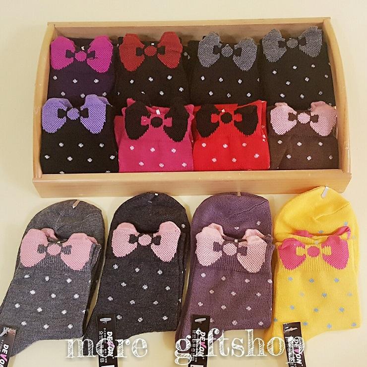 【more 禮品小舖】PRETTY 襪子系列 ~ 蝴蝶結圓點點短襪、冬季溫暖可愛少女短襪