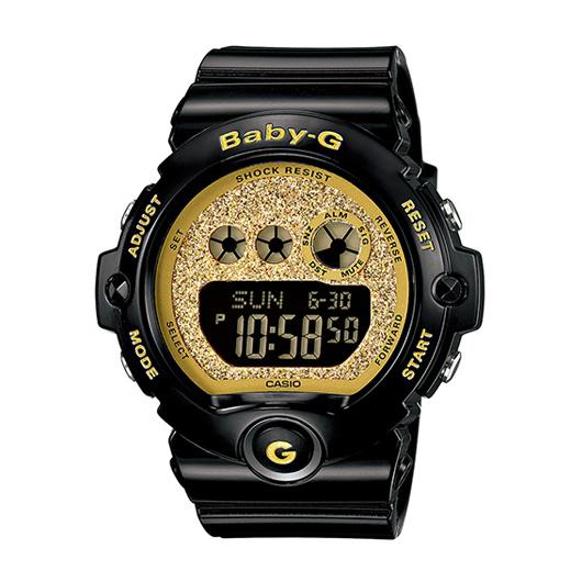 CASIO BABY-G BG-6902-2B時尚黑金紋數位流行腕錶/金面45mm
