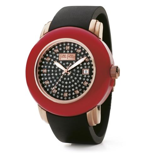 Folli Follie 耀眼奪目時尚晶鑽陶瓷腕錶/黑/WF9R001ZPM