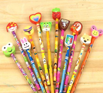 創意可愛帶橡皮套鉛筆(隨機出貨)
