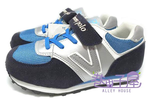 【巷子屋】 Jimmy Polo 男童經典復古運動休閒跑鞋 [68029] 藍 超值價$298