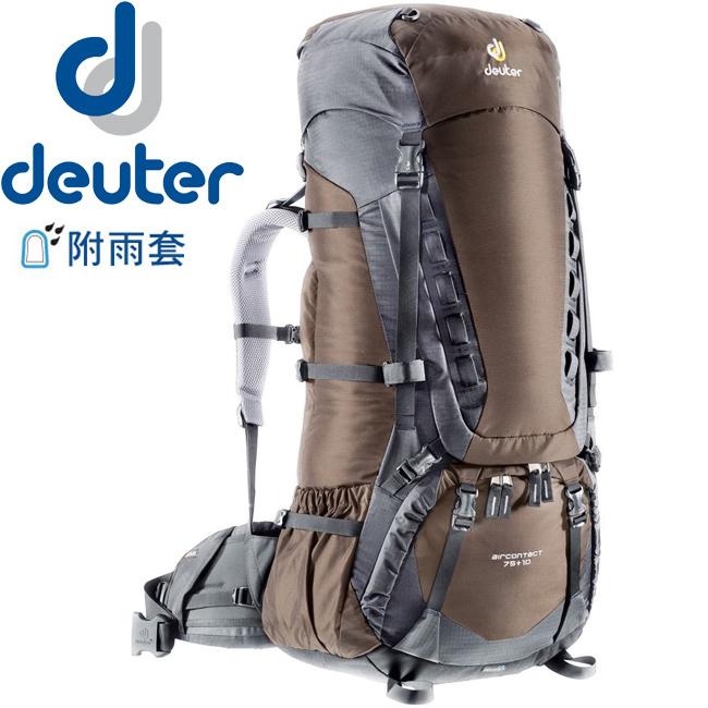 【露營趣】中和 送贈品 德國 deuter 33472 Aircontact 75+10L 拔熱式透氣背包/登山背包/自助旅行背包