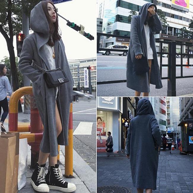 PS Mall 顯瘦純色風衣外套韓版長款長袖連帽開衫【T2952】
