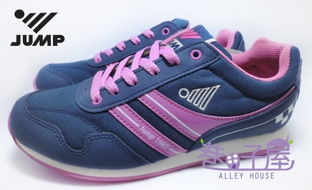 【巷子屋】JUMP 將門 女款搭色防臭復古運動慢跑鞋 [632] 深藍 MIT台灣製造 超值價$590