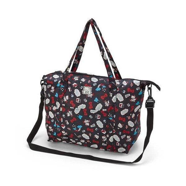 【曙嘻sooth】Hello Kitty黑色滿版可折疊斜背旅行袋