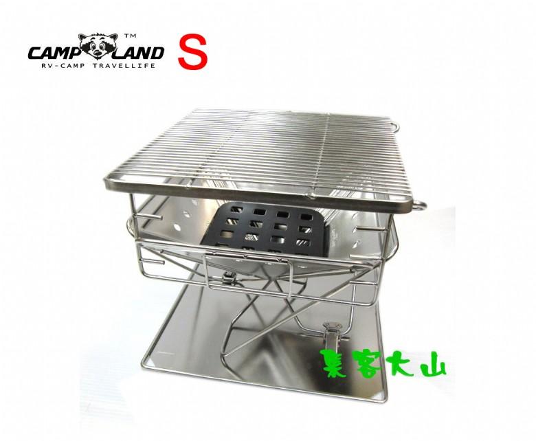 【露營趣】中和 CAMP LAND RV-ST362 火烽焚火台 S號 烤肉架 桌上型烤爐 304不鏽鋼 非coleman snowpeak