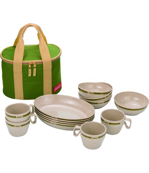 【露營趣】中和 美國 Coleman 極致品味 竹纖維四人份餐盤組 餐具組 碗 盤子 杯子 cm-2922