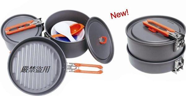 【露營趣】中和 附D型扣 犀牛 RHINO K-23 三人豪華套鍋 鋁合金鍋具組 三人鍋 二人鍋 湯鍋 碗 湯匙 平底鍋 煎盤