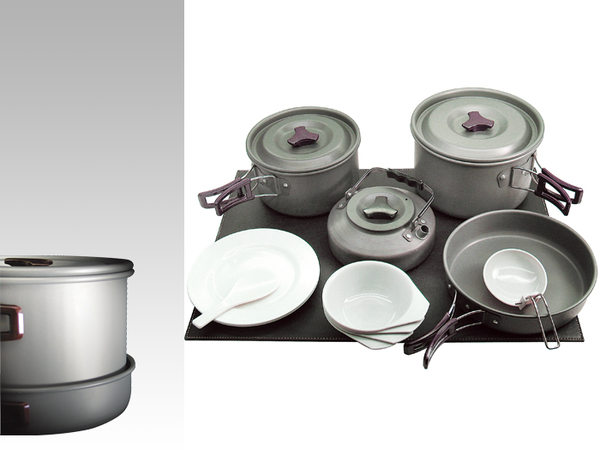 【露營趣】中和 附D型扣 犀牛 RHINO K-4 四人鋁合金套鍋 碗 煎盤 平底鍋 茶壺 炊具 環保餐具 登山 露營 野炊