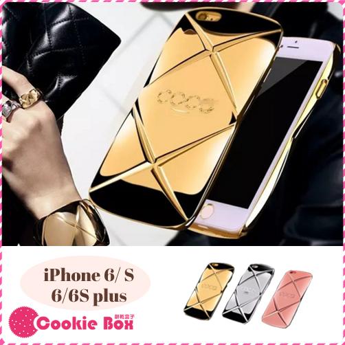 *餅乾盒子* 菱格紋 電鍍 鏡面 手機殼 iPhone 6 6S plus 質感 保護殼 玫瑰金 精品 戒指 類coco
