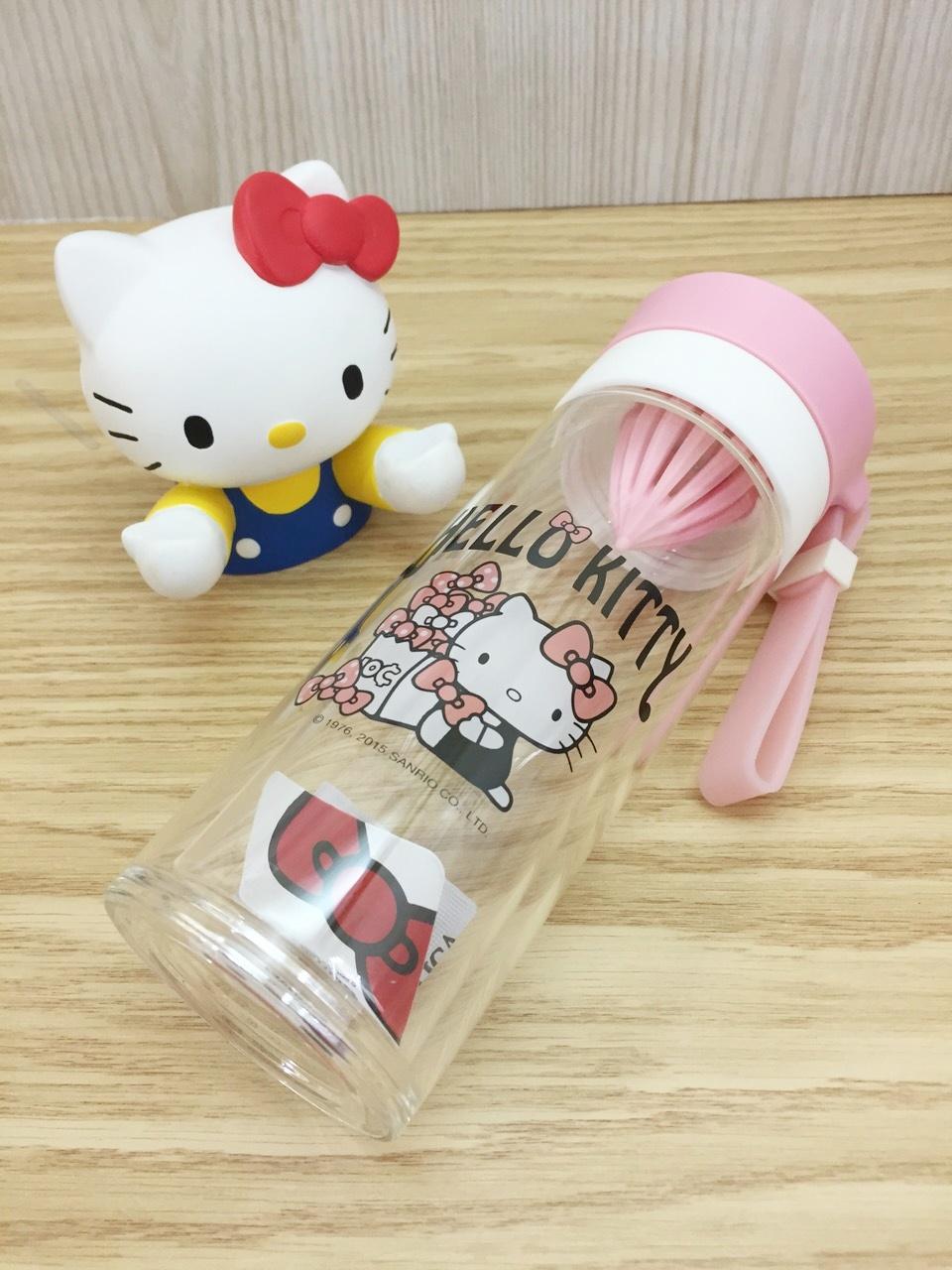 【真愛日本】15060500012 雙層耐熱玻璃檸檬瓶-粉 三麗鷗 Hello Kitty 凱蒂貓 水瓶 水杯 居家 廚房 正品 限量