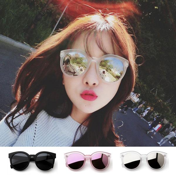墨鏡 磨砂透明圓框 粉紅 黑 白 雷射反光鏡面 明星款太陽眼鏡 正韓