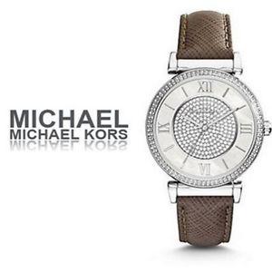 美國Outlet 正品代購 MichaelKors MK 銀鑲鑽 深咖色皮帶三環計時手錶腕錶 MK2377