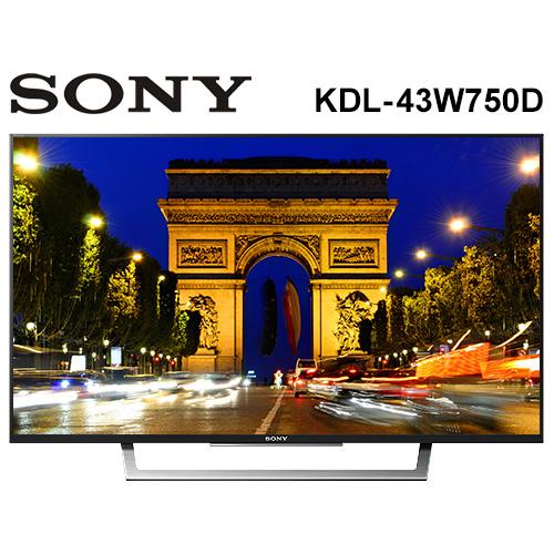 【1101 - 1130 好禮二選一 最高值$1280】SONY 索尼 液晶電視 KDL-43W750D 43吋 Full HD Wi-Fi 240Hz 公司貨